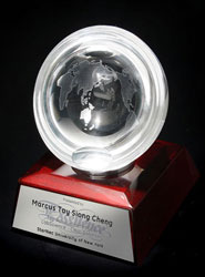 Half-Sphere Crystal Award with Engraved World Map