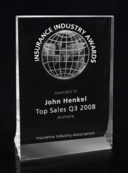 Regent Crystal Award with Engraved World Map