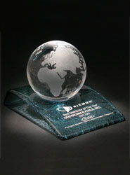 Crystal Globe Award on Curved Fusion Glass